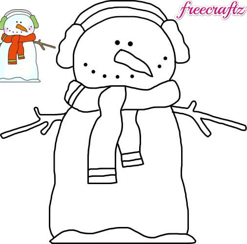 Snowman Template – Wearing Ear Muffs And A Winter Scarf