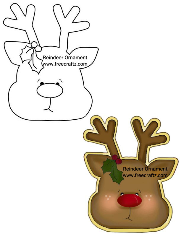 Reindeer Ornament Pattern - Wood template for Christmas Tree or Gifts