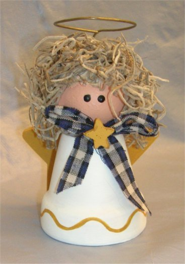 Angel crafts make a clay pot for christmas